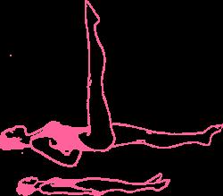 Дыхание Огня в позе лежа с поднятой правой ногой на 90 градусов. Упражнение Кундалини Йоги картинка