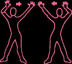 Качания руками из стороны в сторону стоя. Упражнение Кундалини Йоги картинка