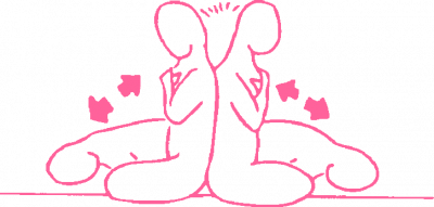 Наклоны в паре из положения спина к спине — упражнение Кундалини Йоги картинка