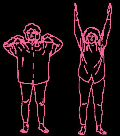 Подъёмы и опускания рук на плечи. Упражнение Кундалини Йоги картинка