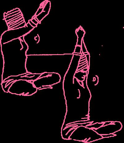 Подъёмы рук на 60 градусов в Простой Позе. Упражнение Кундалини Йоги. C и D картинка