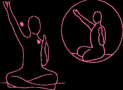 Поочередное вытягивание рук под углом 60 градусов — упражнение Кундалини Йоги картинка